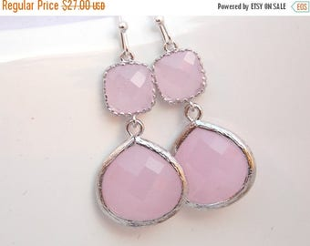 SALE Pink Earrings, Glass Earrings, Silver Earrings, Ice Pink, Soft Pink Light Pink, Wedding Jewelry, Bridesmaid Earrings, Bridal Bridesmaid