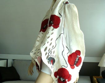 Nuno felted scarf silk and wool - White and red flowers shawl