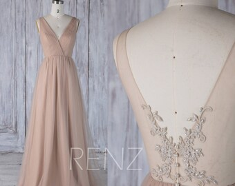 2017 Beige Tulle Bridesmaid Dress, V Neck Wedding Dress, Lace Illusion Back Prom Dress With Beading, A Line Evening Gown Floor Length(HS491)