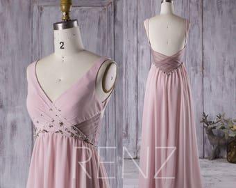 2017 Blush Bridesmaid Dress with Beading, V Neck Wedding Dress, Backless Prom Dress, Long Chiffon Formal Dress Floor Length (H251)