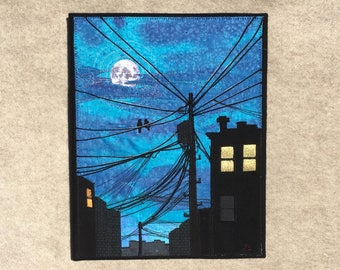 Moonlight Lovers, 11x14 inches, original sewn fabric artwork, handmade, freehand appliqué, ready to hang canvas