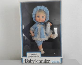Vintage Uneeda Baby Doll / Drinks and Wets / Baby Jennifer / Box Never Been Opened / 80's
