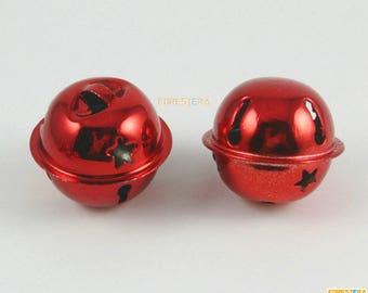 10Pcs 30mm Red Bells Jingle Bells Christmas Bells Pet Bells (Bell02)