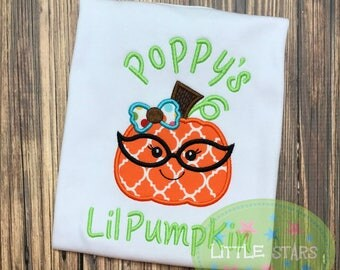 Cute Girl Pumpkin wearing Glasses - Appliqued and Personalized