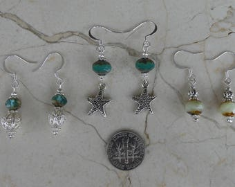 3 Pair Earrings, Czech Glass Starfish Earrings, Teal Earrings, Czech Glass Earrings, Filigree Earrings, Starfish Earrings, Czech Glass