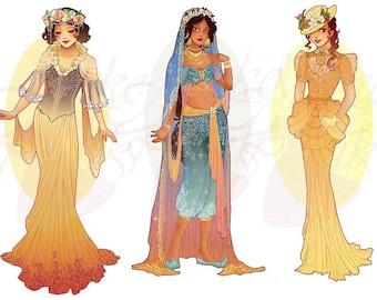 Full Set 5 Princesses Mucha Style CROSS STITCH PATTERNS Snow White, Jasmine, Jane, Original Art by Hannah Alexander