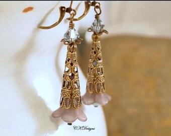 Victorian Style Earrings, Filigree Brass Earrings, Lucite Earrings, Vintage Style Pierced or Clip on Earrings.  Swarovski Earrings
