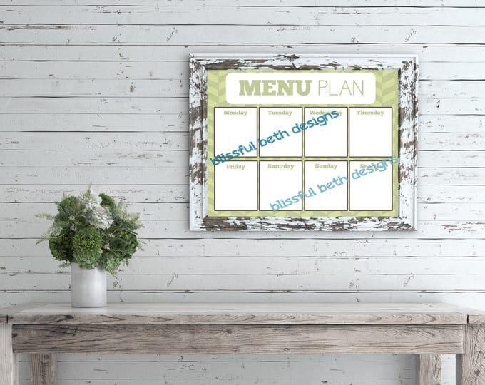 WEEKLY MENU PLANNER Weekly Menu Planner, Printable Menu Planner, Instant Download Planner, Weekly Menu, Printable Menu Plan, Menu Planning