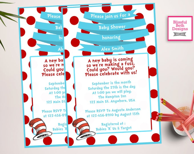 SEUSS BABY SHOWER Personalized Dr. Seuss Baby Shower Printable Invitation, Baby Shower Invitation, Dr. Seuss Invitation, Fancy Dr. Seuss