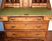 Large antique solid oak chest of drawers bureau desk.