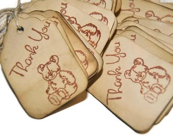 25 Teddy Bear thank you Baby Shower Favor Gift Tags. hand  stamped. Vintage Inspired Tags. small. miniature tiny mini
