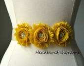 SALE PICK COLOR Chiffon Flower Sash - Wedding Dress Belt - Ribbon Sash - Prom Sash - Rhinestone Sash - Flower Girl Sash - Mustard Yellow