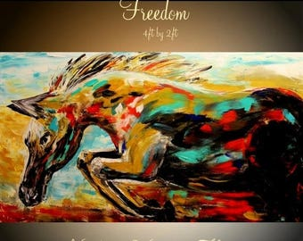 """SALE ORIGINAL Abstract Oil gallery wrap canvas-Contemporary  multicolor Oil Horse painting by Nicolette Vaughan Horner 48""""x24"""""""