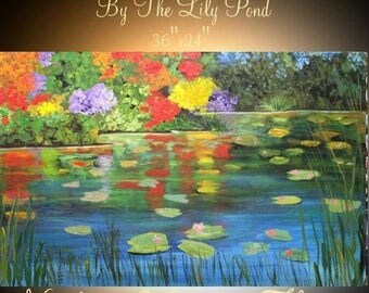 """SALE ORIGINAL 36""""Abstract Acrylic gallery canvas-Contemporary Palette Knife Impasto painting """"By The Lily Pond""""  by Nicolette Vaughan Horner"""