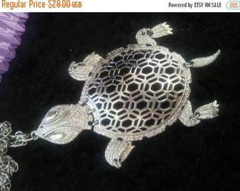 On Sale Vintage Large Turtle Necklace Mid Century Collectible Costume Jewelry 60s