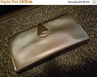 On Sale Vintage 1950's 1960's Gold Shiny Wallet Rockabilly Accessory Vanity Mid Century Modern Home Decor Display