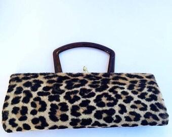 On Sale 1960's Vintage Leopard Faux Fur Handbag & Matching Hat Retro Rockabilly Mid Century Purse Old Hollywood Regency Glamour Style