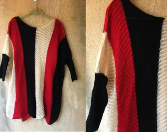 Striped See Through Wool Batwing Mod Color Block Red Black White Zig Zag Sweater Dress