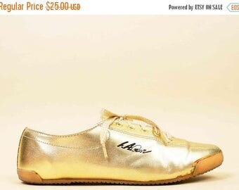 80s Vtg Iconic L.A. GEAR Gold Metallic Lace Up Sneakers / Glam New Wave Casual Shoes 9 8.5 Eu 40 39.5