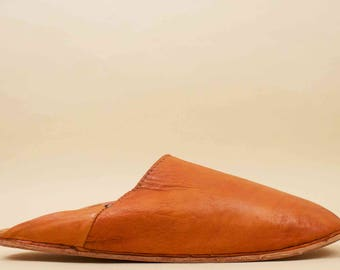 70s Vtg Mens Handmade 100% Genuine Leather Slip On Moccasin Open Heel Slipper / Boho Ethnic MOROCCAN Casual Shoes 10 11 Eu 44 45