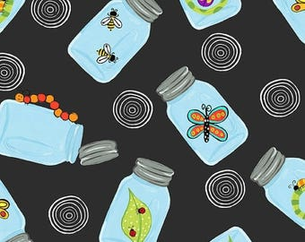 20 % off thru 7/4 BUGAPALOOZA In the Beginning fabrics by the 1/2 yard cotton bugs insects in  bug jars on black 4JHJ 3