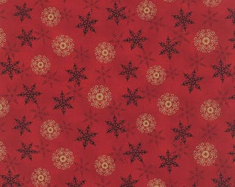 12% off thru July REJOICE in the SEASON black and  tan snowflakes on red cotton print by the 1/2 yard Moda fabric Christmas 19764-11