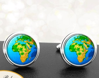 Map Cufflinks Africa Middle East View World Map Cuff Links for Groomsmen Groom Fiance Anniversary Wedding Fathers Dads Men