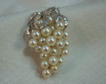 c1960's 14kt White Gold and Cultured Pearls Grape Brooch
