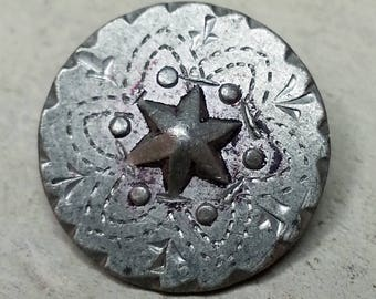 Excellent Antique Hand Chased Pewter Picture Button ~ Star Flower ? ~ Starflower with Decorative Border ~ 9/16 inch 14mm ~ Grammys Buttons