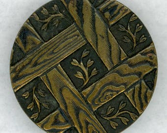 Stunning Antique Paris Back Solid Brass Picture Coat Button ~ Flower Sprigs Peeking thru Wooden Trellis ~ 1-1/16 inch 27mm ~ Grammys Buttons