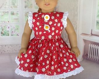18 inch doll dress. Fits American Girl Dolls. Red daisy with eyelet trim.