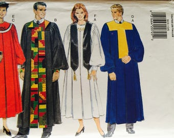 Butterick 3819, Size X-Small, Small, Medium, Large, X Large, Unisex Robe, Collar and Scarf Pattern, UNCUT, Minister, Choir, Church