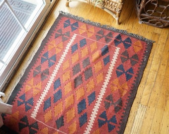 Vintage Red Multicolored Kilim Rug / Wall Tapestry 3' x 2.5'