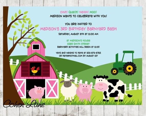 Pink farm invitation farm invite petting zoo invitation farm il570xn stopboris Image collections