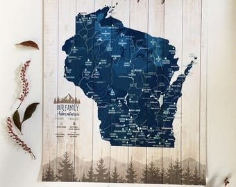 Parks and Rec, Push Pin Canvas, Wisconsin gifts, Wisconsin Home decor, State Wall Art, State parks, Wisconsin State parks, Nature Lover,