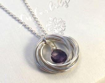 Amethyst Necklace, February Birthday, February Birthstone Necklace, 60th birthday, 70th birthday, Rings Necklace