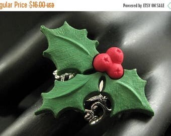 SUMMER SALE Christmas Holly Ring. Holiday Ring. Christmas Ring. Silver Filigree Adjustable Ring. Handmade Jewelry.