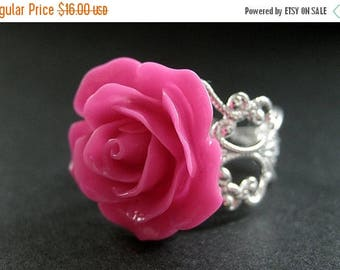 SUMMER SALE Hot Pink Rose Ring. Pink Flower Ring. Filigree Adjustable Ring. Flower Jewelry. Handmade Jewelry.