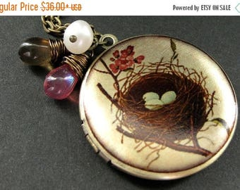 SUMMER SALE Birds Nest Locket. Nest Charm Necklace with Pink and Brown Teardrops and Fresh Water Pearl. Handmade Jewelry.