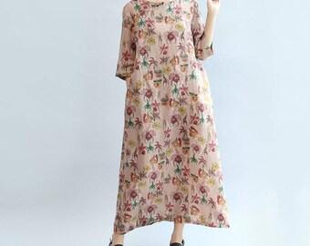 Leisure Cotton long dress linen robe Summer gown