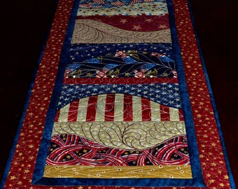 CountryPatriotic Table Runner - Patriotic Quilted Table Runner In Red, White and Blue