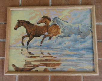 """vintage paint by number art painting horse southwest 17"""" x 13"""" framed signed"""