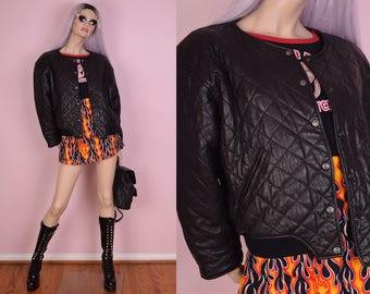 90s Quilted Leather Bomber Jacket/ Large/ 1990s