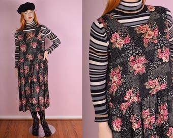 90s Floral Print Jumper Dress/ XL/ 1990s/ Tank/ Sleeveless/ Flowy