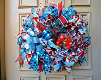 Happy Holidays Mesh Wreath, Door Wreath, Christmas Porch Wreath, Christmas Home Decor, Christmas Decoration, Blue, Red, and White