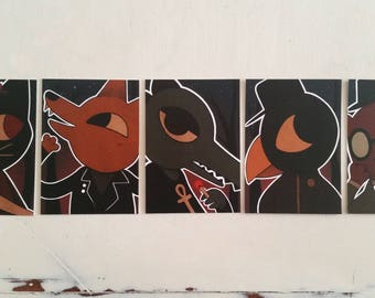 Night In The Woods - Art Cards - Set of 5 - Mae, Gregg, Bea, Germ & Angus