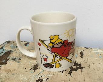 Vintage Paddington Bear Summer mug, made by Kilncraft Staffordshire tableware England for D.E. (Douwe Egberts) coffee Holland
