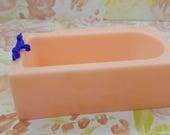 Renwal  Pink Bath tub blue fixtures  Doll House Toy Bathroom Hard Plastic Pink