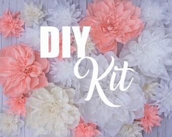 DIY Flower Kit - Custom Color   20 Pieces   Giant Crepe Paper Flowers   Wedding Wall