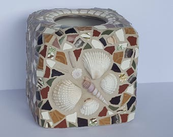 One of a Kind Mosaic Tissue Paper Holder Butterfly Shells